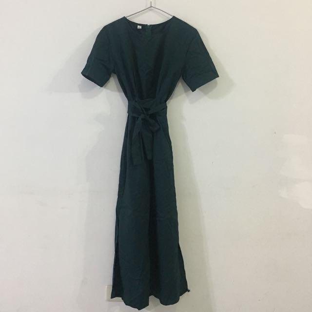 韓製復古綠顯瘦開衩長洋裝