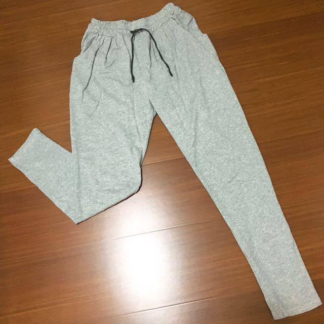 灰色彈性棉褲