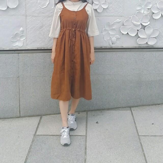 棕色掉嘎綁腰鬆緊細肩帶長裙 #我的女裝可超取
