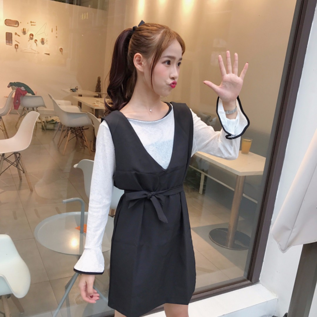 淑女風寬鬆時尚喇叭袖韓版連衣裙兩件套