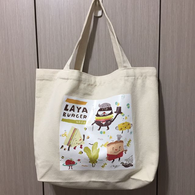 全新 拉亞漢堡印刷手繪塗鴉手提帆布包環保購物袋