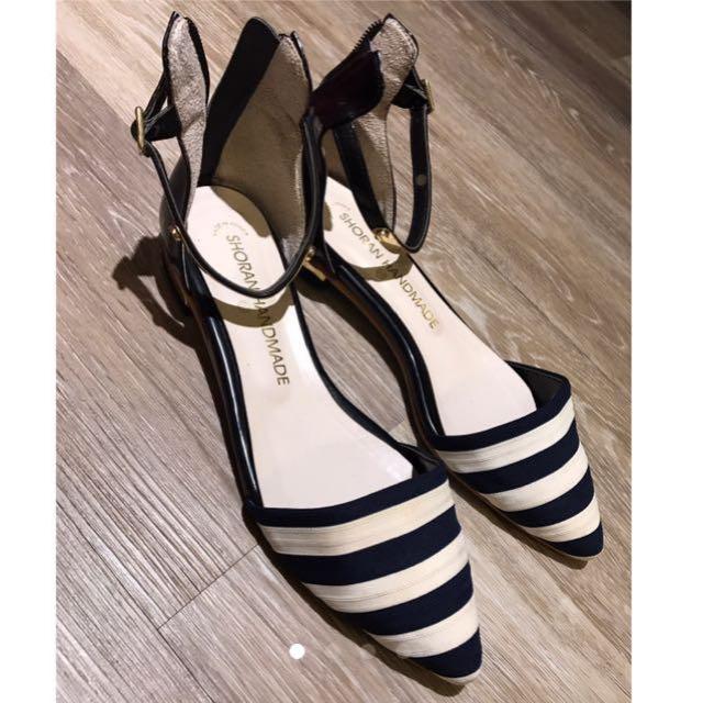韓 超美條紋涼鞋 23.5