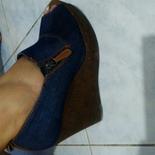 Authentic Charles & Keith Denim Wedge