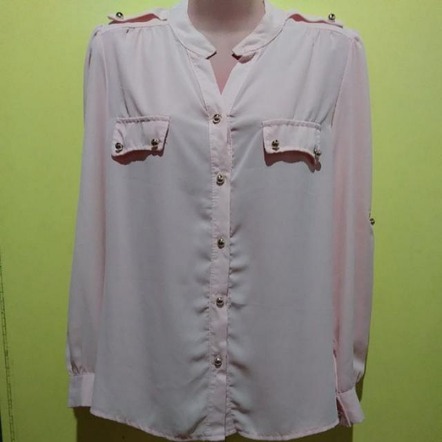 Baby Pink Chiffon Long Sleeves