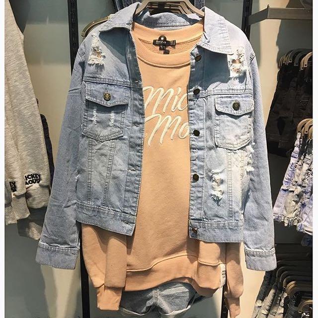 Bershka (Look A Like) Oversize Ripped Jeans Jacket
