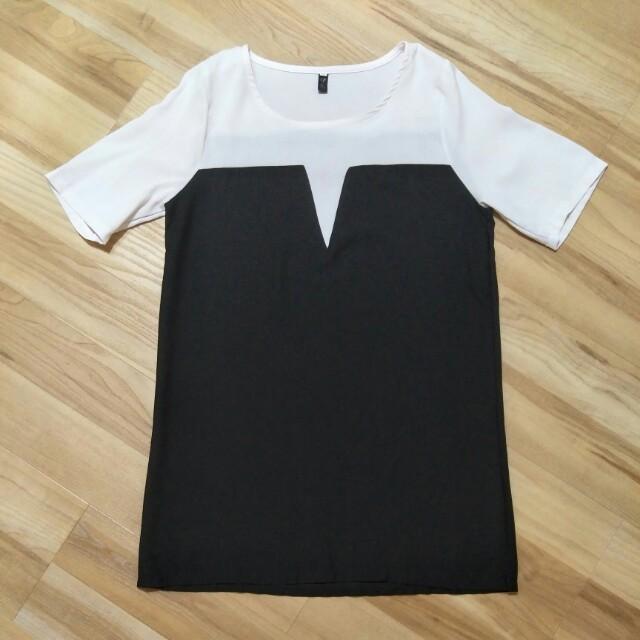 💋 Black and White Chiffon Mini Dress