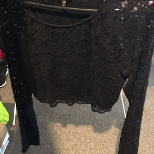 Black Crop Lace Top
