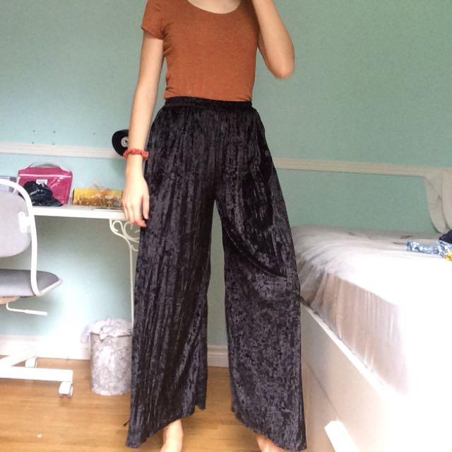 Black Fashionable Velvet Pants