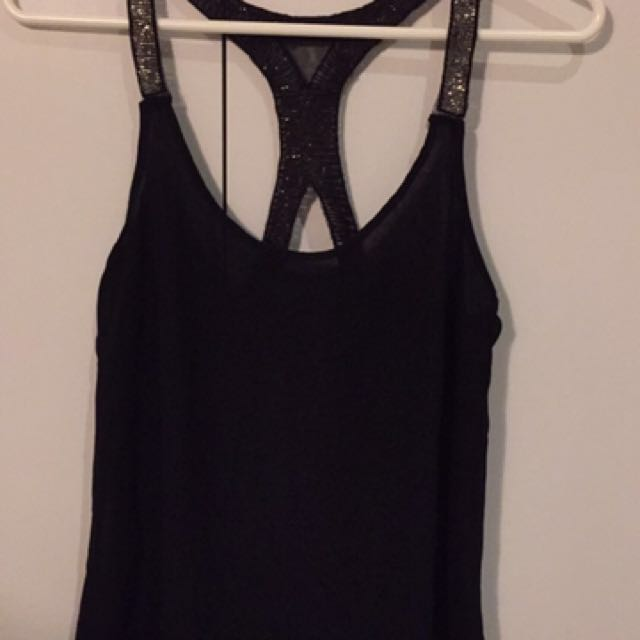 Black Singlet Top With Sparkly Shoulder
