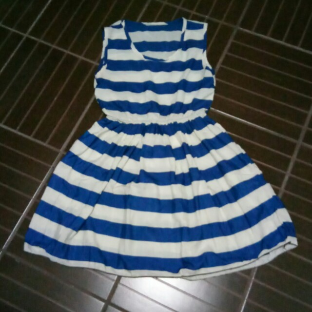 Blue and white striped see-through dress