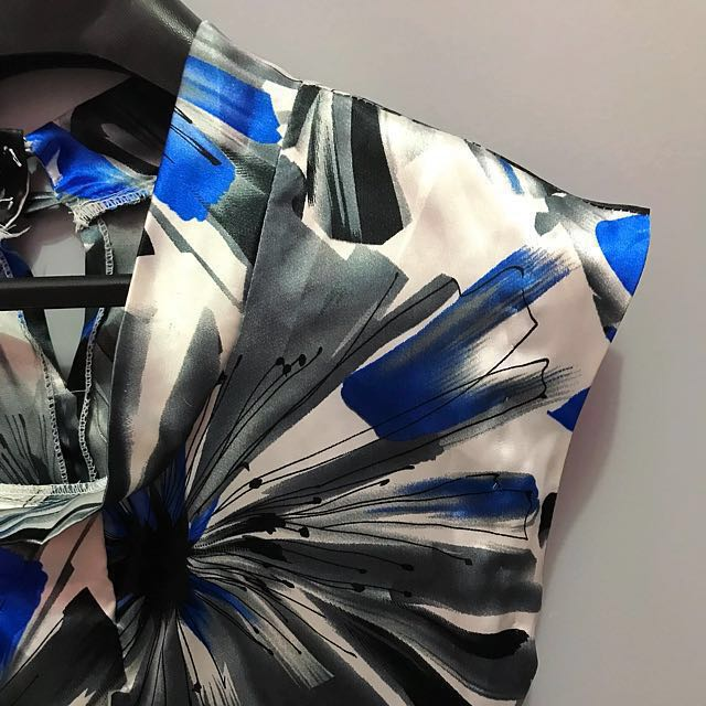 Blue grey silk dress (multicolored)