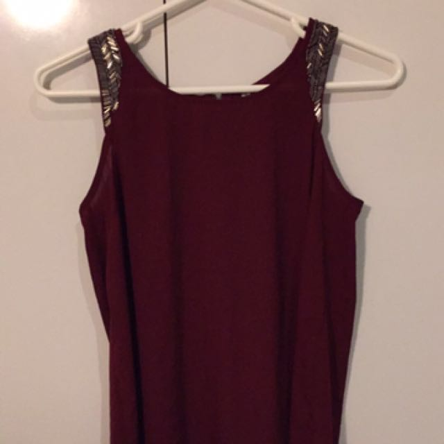 Burgundy Top With Sparkly Shoulders