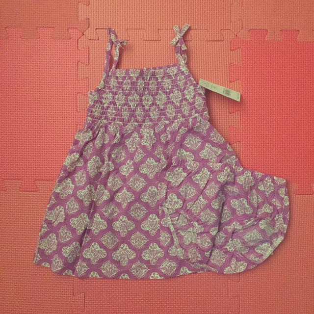 Carter's Geo print smoked dress w/ diaper cover