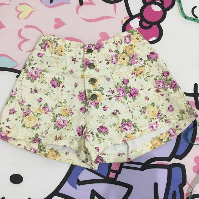 celana hi-waist bunga