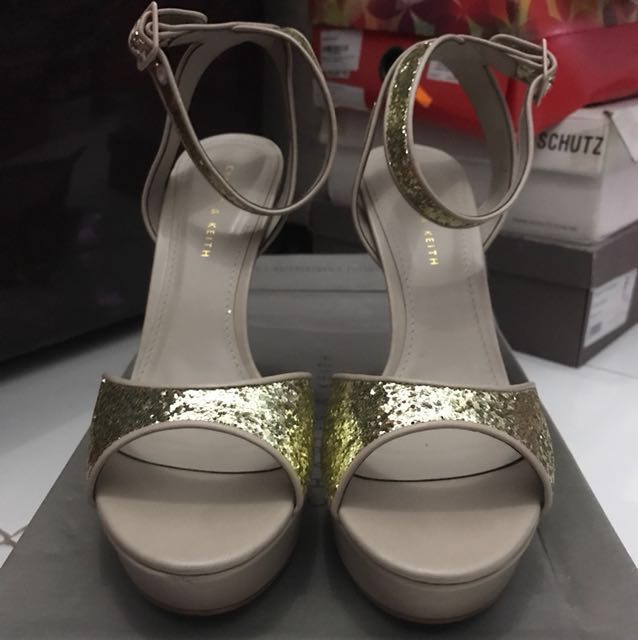 Charles & Keith High Heels Shoes Gold Glitter Size 38