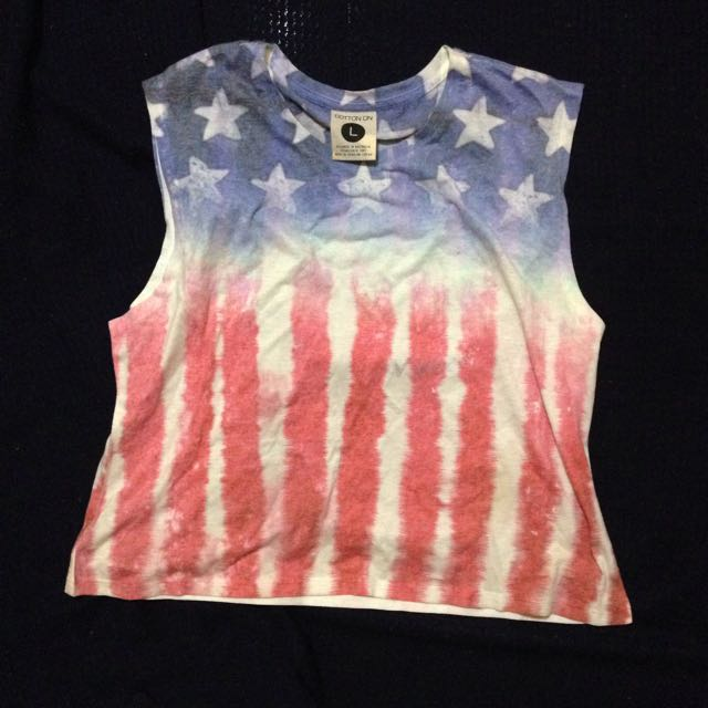 cotton on american flag crop top
