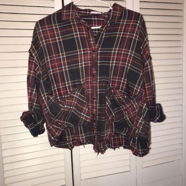Cropped Plaid Shirt