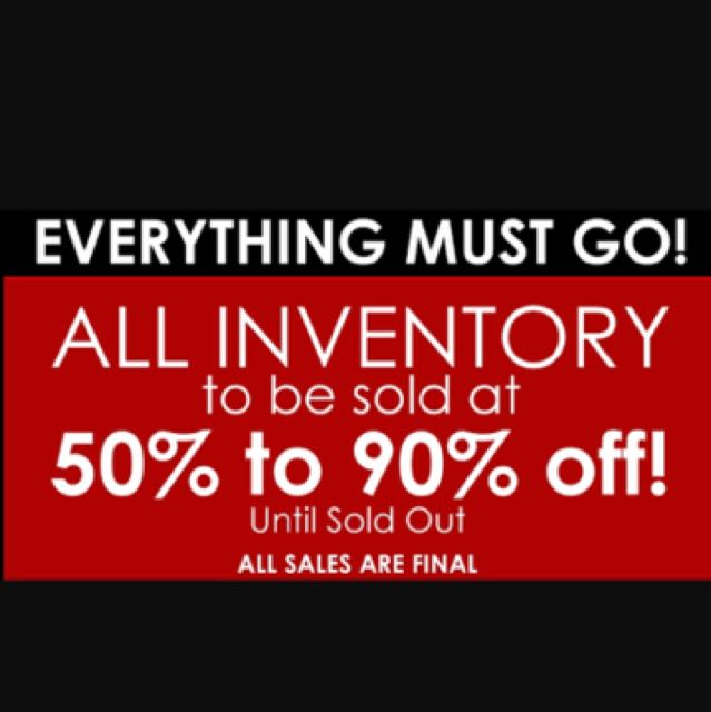 EVERYTHING MUST GO! Up to 50% OFF