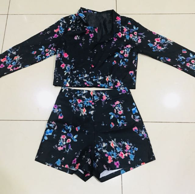 Floral Blazer with shorts set