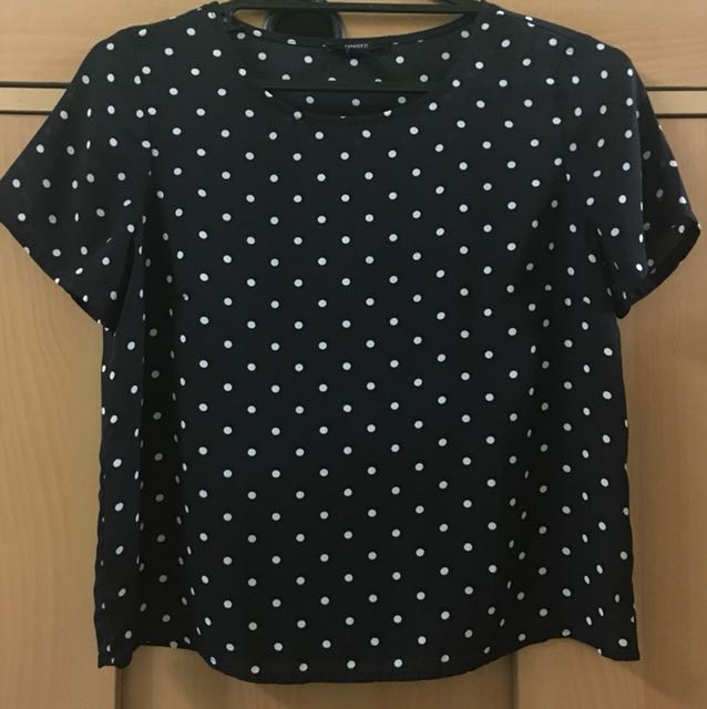 Forever21 Polka Dotted Black Top