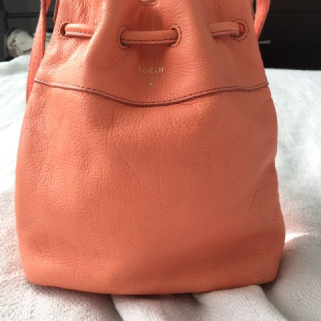 Fossil Leather Drawstring Purse
