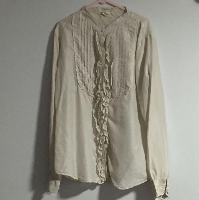 0d7516881da08 Golden Hawk Silk Ruffle Cream Shirt Size S M
