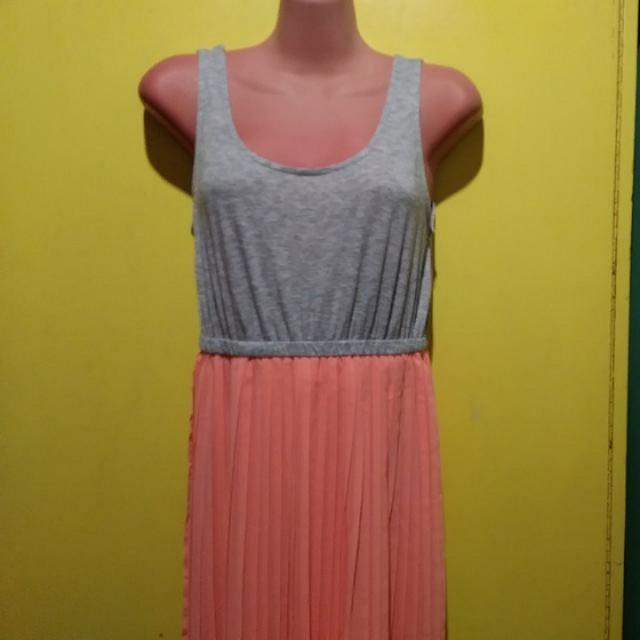Gray & Orange Sleeveless Maxi Dress