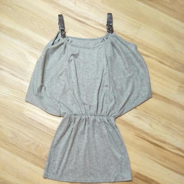 💋 Grey Bat Wing Mini Dress
