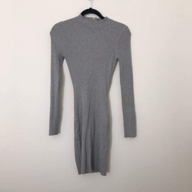 Grey Open-Back Dress