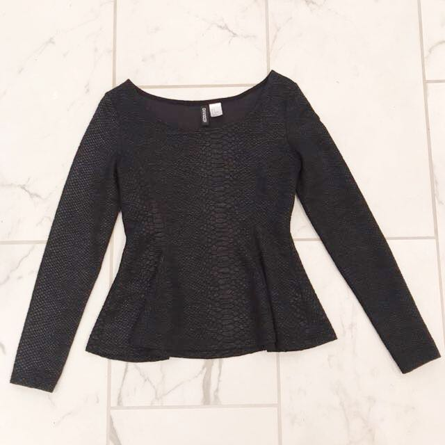H&M Black Peplum Top