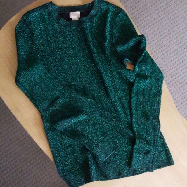 H&M Metallic Slim Fit Sweater Top