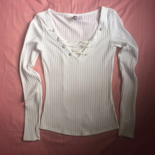 H&M White Ribbed Lace Up Top