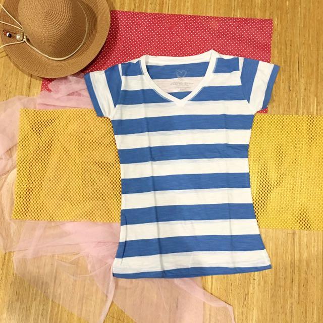 Kaos katun putih biru blouse top