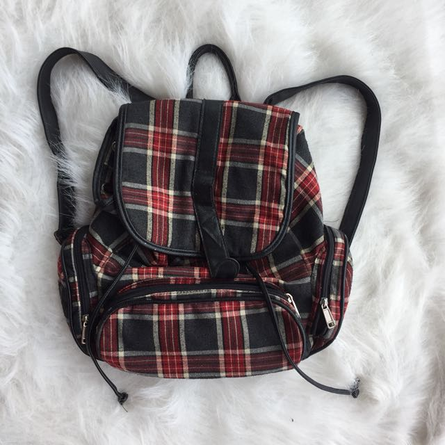 Korean checkered backpack