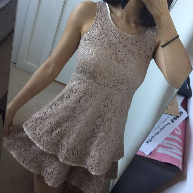 Lace Beige Nude Champagne Mini Dress