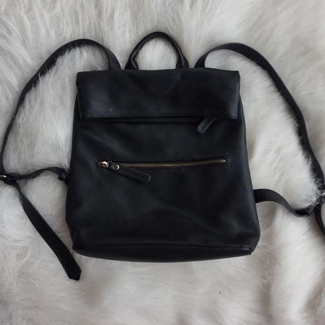 Leather black backpack