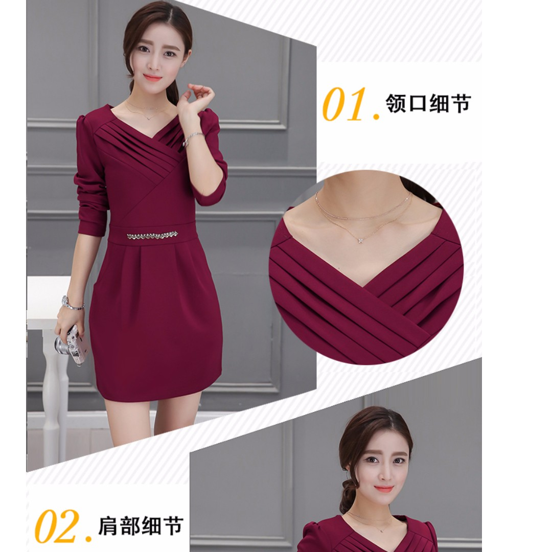 M~4XL氣質名媛時尚修身新款長袖口袋連衣裙(單色酒紅)