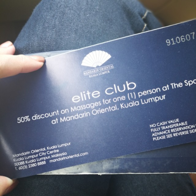 Mandarin Oriental The Spa 50% disc Voucher