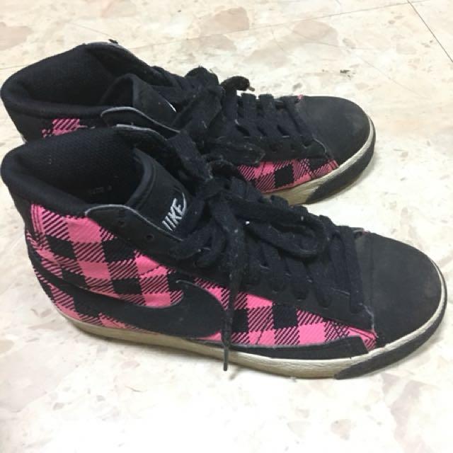 Nike 高筒 桃紅格紋休閒鞋