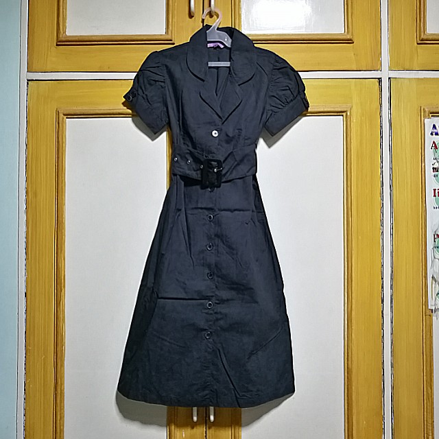 Office Collared Dress with Belt