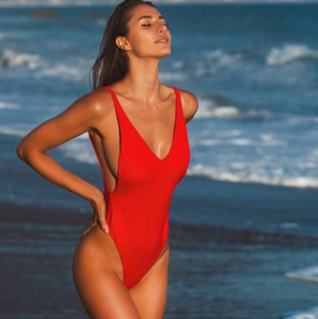 58a07e95e38 Red Low Neck Ayra Swim One Piece Bathing Suit