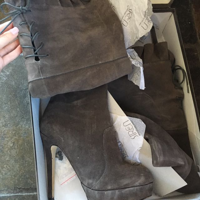 Siren thigh high boots in grey suede leather