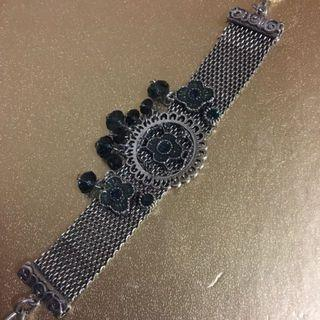 Adjustable Stainless Steel Bracelet  with Blue Crystals