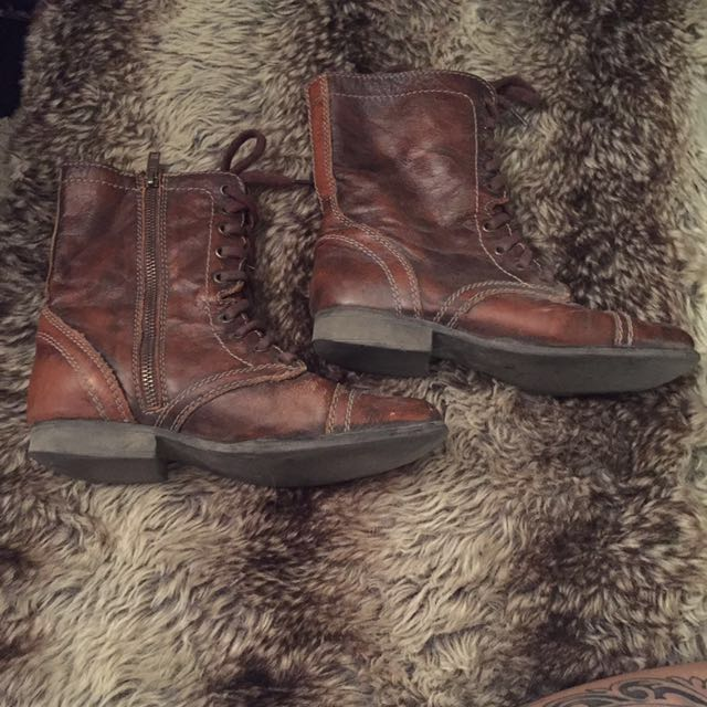 Steve Madden Distressed Leather Combat Boots