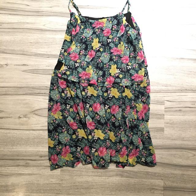 Summer midi dress tropical print