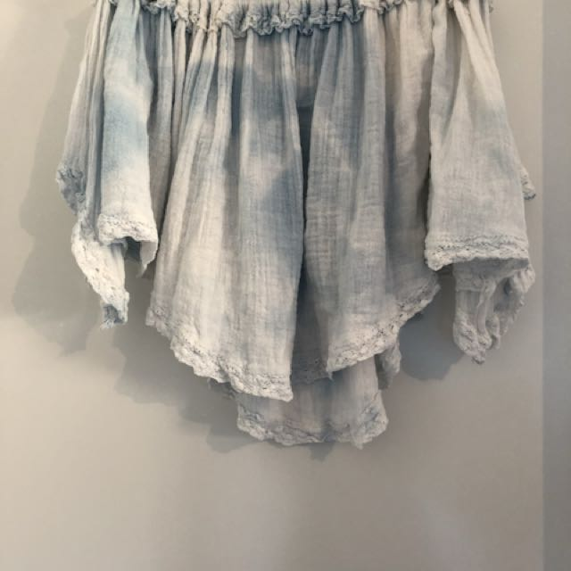 Tie Dye Blue & White Off The Shoulder Top