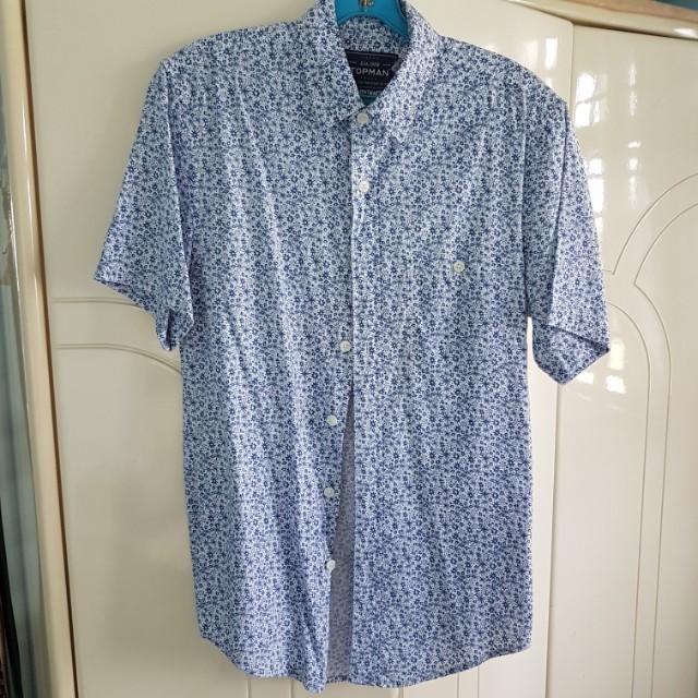 917c4f16161 Topman Blue   White Floral Short Sleeve Shirt