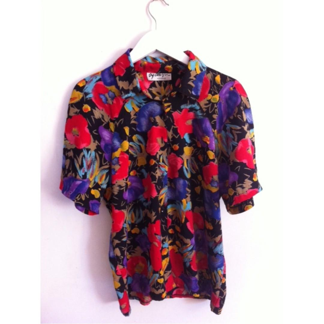 Vibrant Floral Shirt Size 10/12