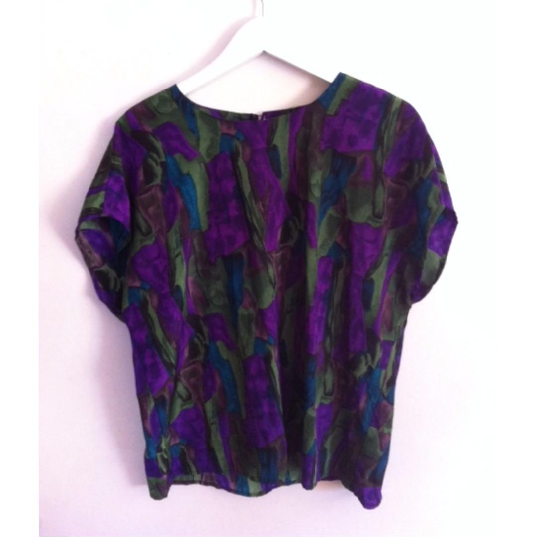 Vintage Purple/Green Blouse Size 12/14