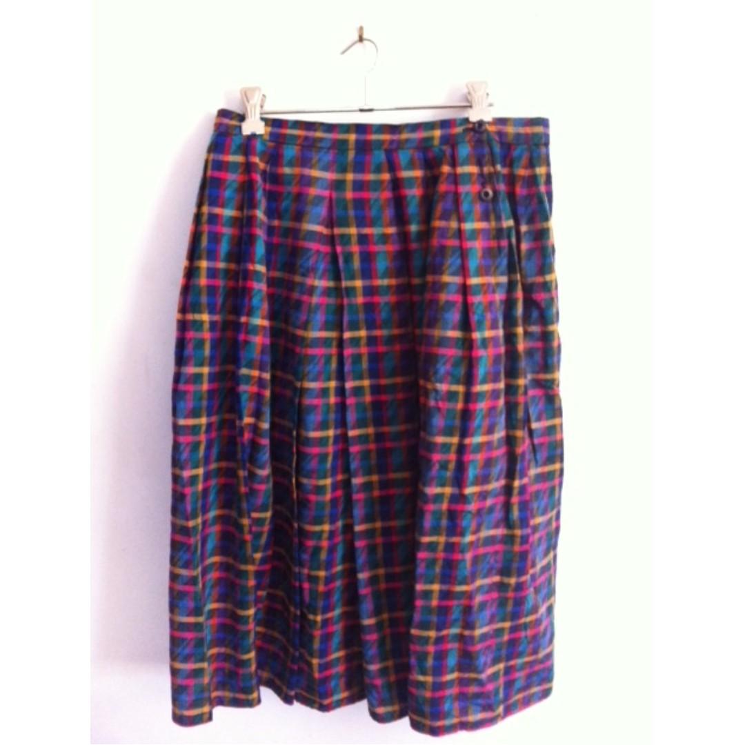 Vintage Rainbow Checked Skirt Size 10